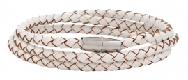 Gevlochten leren armband - wit, 3 rijen