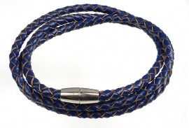 Gevlochten leren armband - donkerblauw