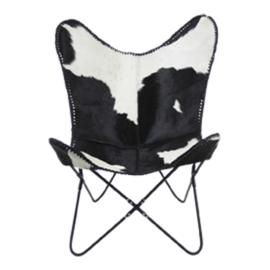 Vlinderstoel Koeienhuid - zwart/wit
