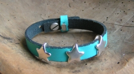 024 Leren armband met sterren - turquoise