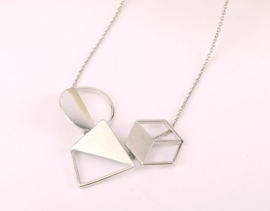 Ketting 3D - zilver