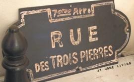 Metalen plaat Rue des Trois