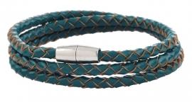 Gevlochten leren armband - blauwgroen