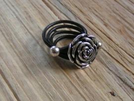 Leren ring - Roos