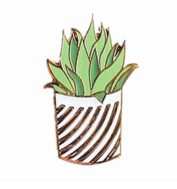 Fashion pin - plant, gestreept