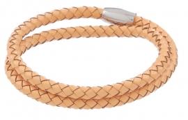 Gevlochten leren armband - naturel