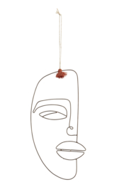 Hang decoratie Face - bruin