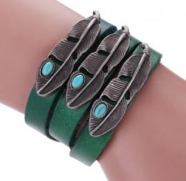 Leren armband Veren - groen