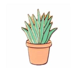 Fashion pin - plant, terracotta