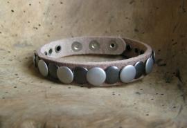 026 Leren armband Studs -naturel