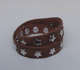 Armband sterren, dubbel - naturel