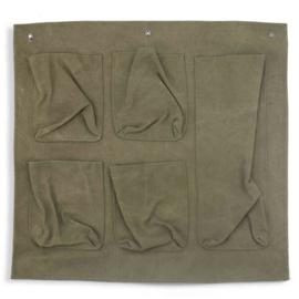 Canvas wandhanger met vakken - legergroen