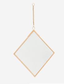 Spiegel aan ketting - antiek brons