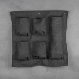 Canvas wandhanger met vakken - zwart