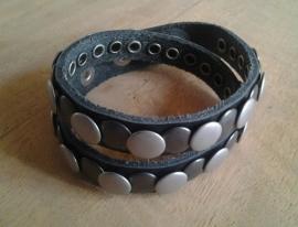 Wikkel armband Studs -zwart, zilver