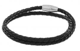 Gevlochten leren armband - zwart