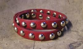 2318 Leren armband Studs - donkerrood