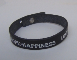 Armband Love, Hope ... - zwart