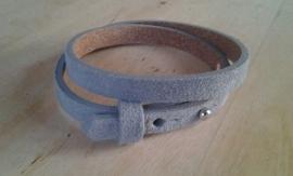 Suède armband - lichtgrijs