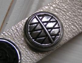 311 Clickbutton zilver - ruit