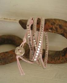 Wikkelarmband roze