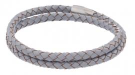 Gevlochten leren armband - grijs