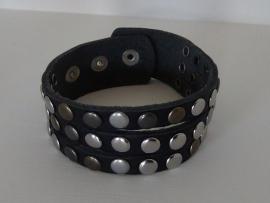Leren armband Studs - 3 rij