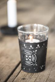 Waxinelichthouder met glas