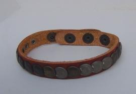 Leren armband Studs - cognac