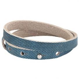 Leren armband Bleu denim