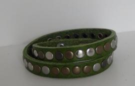 Wikkelarmband Studs - olijfgroen