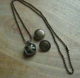 106-1 Ketting met clickbuttons - brons