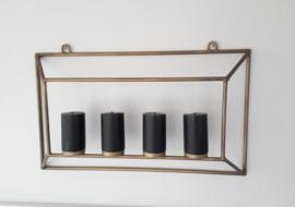 Kaarsenhouder, wandmodel - goud