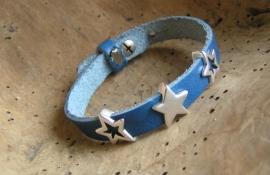 024 Leren armband met sterren - blauw