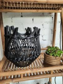 Windlicht, bamboe XL - zwart