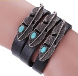 Leren armband Veren - zwart