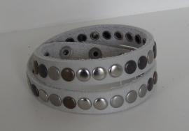 Wikkelarmband Studs -  lichtgrijs
