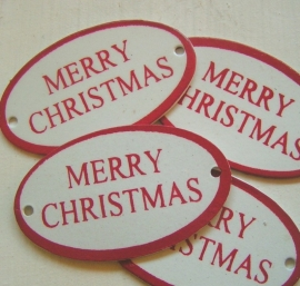 7022-99 Label Merry Christmas - rood