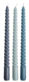 Set van 3 swirl kaarsen, blauw