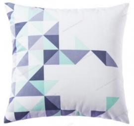 Kussenhoes Triangle - grijs/mint