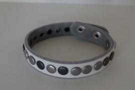 Leren armband Studs - wit