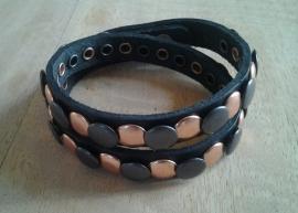 Wikkel armband Studs -zwart, koper