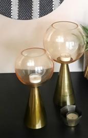 Windlicht goud/glas, l