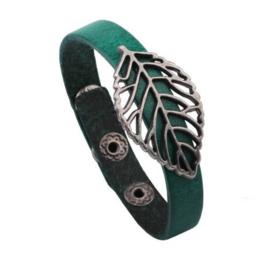 Leren armband Leaf - groen