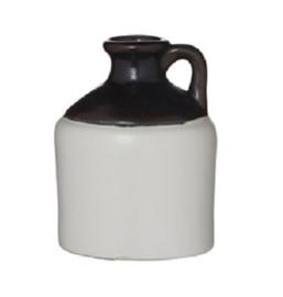 Fles/kruik van keramiek - wit/zwart