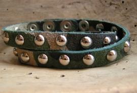 Leren armband Studs - Camouflage