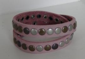 Wikkelarmband Studs -  roze