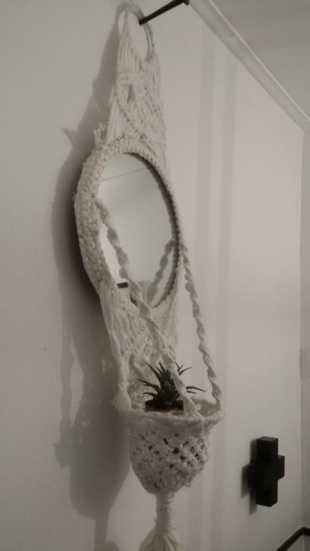 Macramé hanger met spiegel