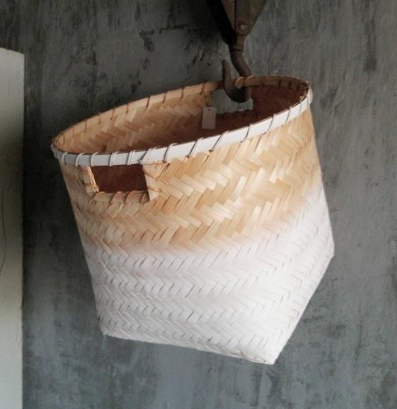 Bamboe mand met witte dip - 3 maten
