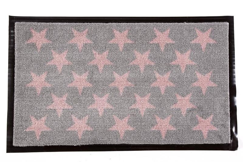 Deurmat Stars - grijs/roze